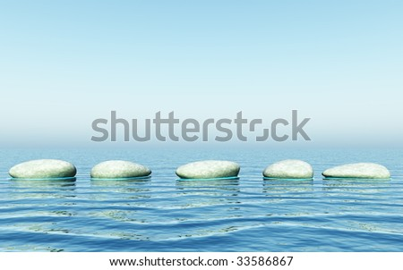 step stones in the sea - stock photo