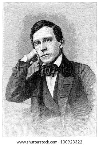 Stephen Collins Foster (1826-1864), American songwriter. Engraving by unknown artist from Harper's Monthly Magazine printed in 1880. - stock photo