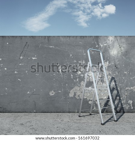 stepladder with wall in front of sky - stock photo