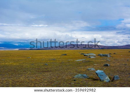 Steppe landscape, blue sky with clouds. Chuya, Kuray steppe in Siberian Altai Mountains. Steppe landscape. Summer steppe. Beautiful landscape. Steppe. Summer landscape. Mountain. Mountains. Blue sky