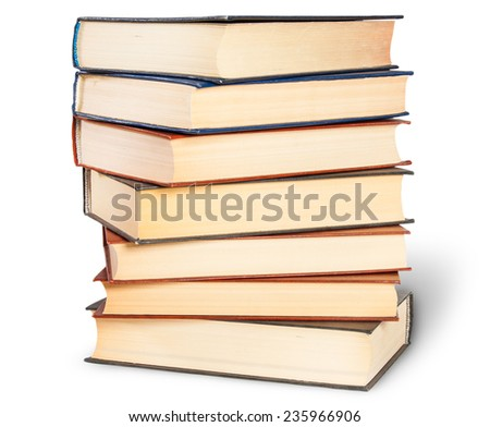 Stepped Stack Of Old Books Isolated On White Background