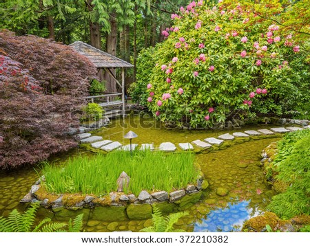 Stepping stones over the pond in the spring garden - stock photo