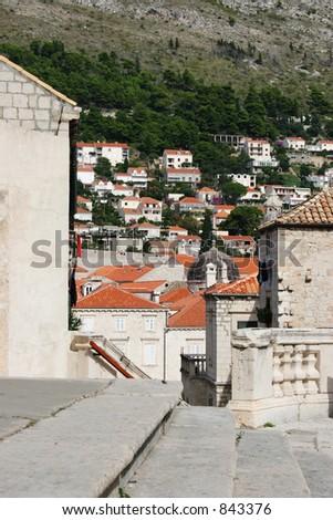 Steps in Dubrovnik, Croatia. - stock photo