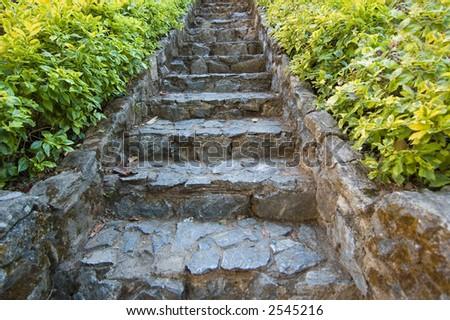 steps in eastern garden - stock photo
