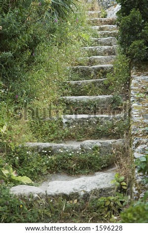 steps in old castle - stock photo