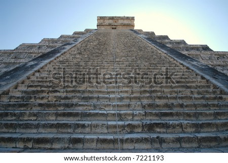 Steps of the famous pyramid at Chichen Itza on the Yucatan Peninsula in Mexico. - stock photo