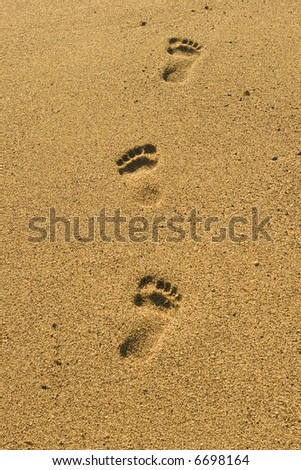Steps on the sand beach - stock photo