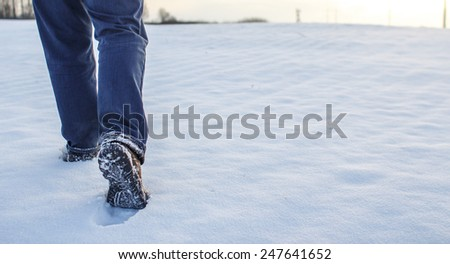 Steps on the snow