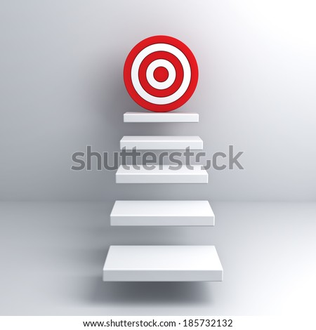 Steps to goal target business concept over white wall background - stock photo