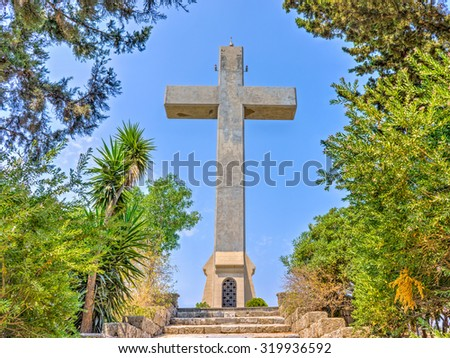 Steps to the giant cross on the observation deck at  Mount Filerimos Rhodes Dodecanese Greece Europe - stock photo