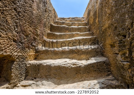 Steps to tomb in archaeological museum in Paphos on Cyprus