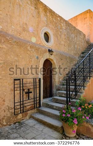 Steps to upstairs in Arkadi monastery on Crete island, Greece - stock photo