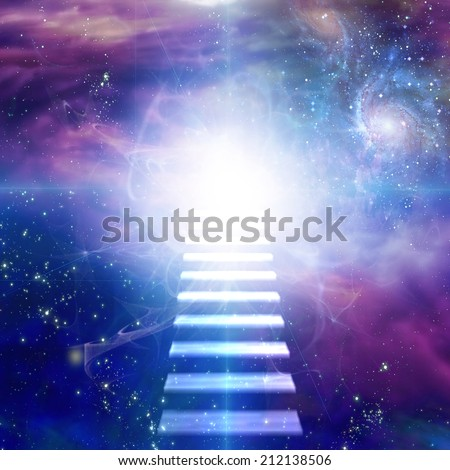 Steps up into cosmos - stock photo