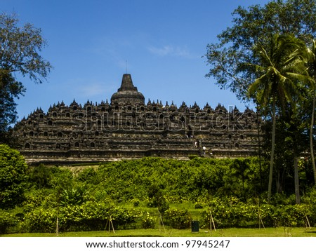 Steps up to Borobodur - Buddhist temple in Indonesia
