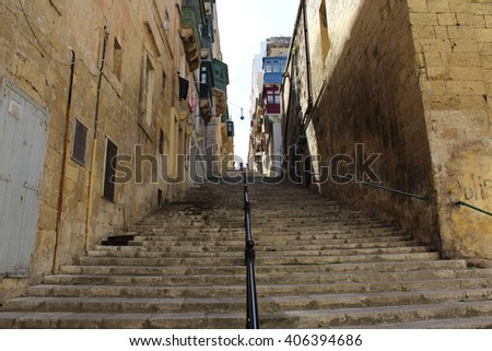 Steps, Valletta, Republic of Malta - stock photo