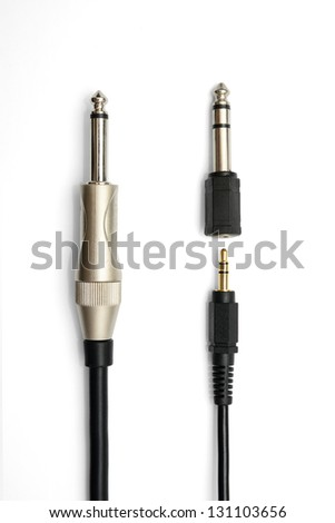 Stereo Cable Cord Adapter for converting size - stock photo
