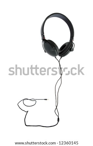 stereo headphones isolated on white - stock photo