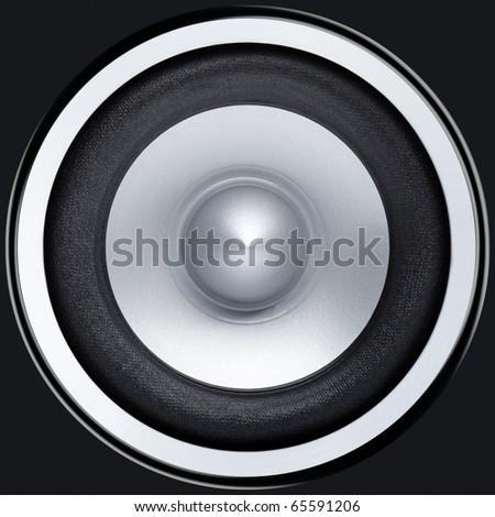 Stereo music audio equipment bass sound speaker - stock photo