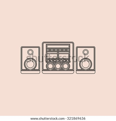 Stereo system. Outline icon. Simple flat pictogram on pink background