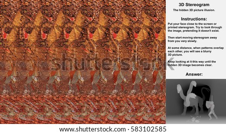 Stereogram illusion with knight fighting three headed dragon in hidden 3D picture