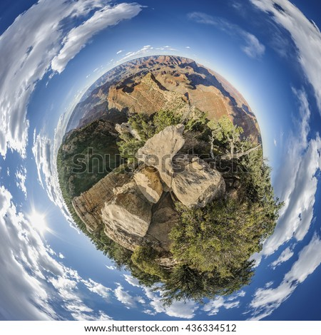 Stereographic projection of full 360 degree panoramic picture of Grand Canyon South Rim, Grandview Point, Arizona, USA - stock photo
