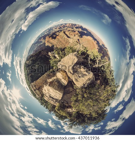Stereographic projection of full 360 degree panoramic picture of Grand Canyon South Rim, Grandview Point, Arizona, USA, Vintage filtered style - stock photo