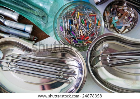 Sterile tools of the dentist - stock photo