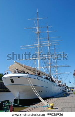 Stern view of beautiful ancient sailing ship - stock photo