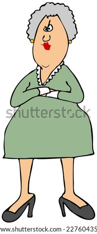 Stern woman - stock photo