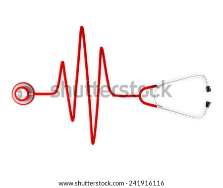 Stethoscope and a silhouette of the heart and ECG. 3d - stock photo