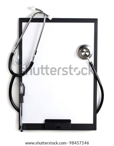 stethoscope and black clipboard isolated on white - stock photo