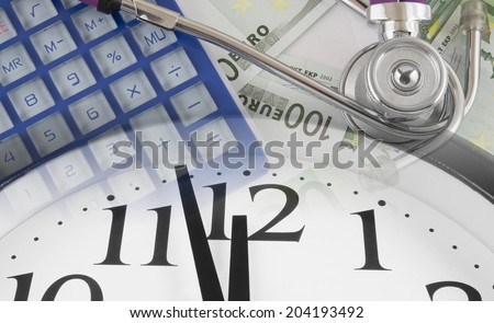 Stethoscope and calculator on banknotes and clock, cost of healthcare concept