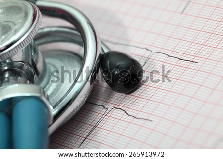 Stethoscope and ECG diagnostic concept - stock photo