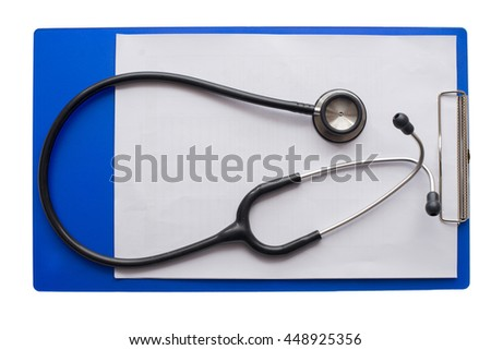 stethoscope and file on white table