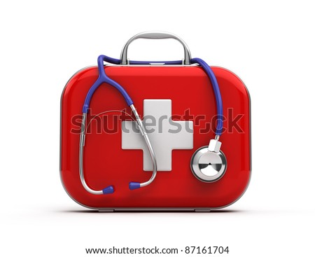 Stethoscope and First Aid Kit isolated - stock photo