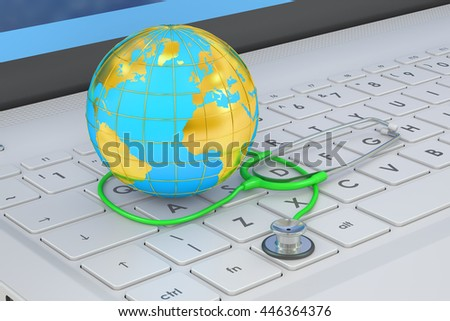 Stethoscope and Globe on laptop keyboard, 3D rendering - stock photo