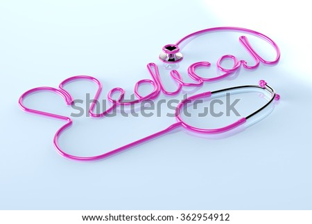 Stethoscope and heart. - stock photo