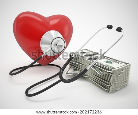 Stethoscope and heart health concept