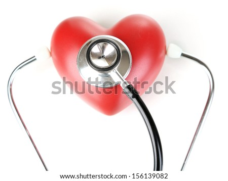 Stethoscope and heart isolated on white - stock photo