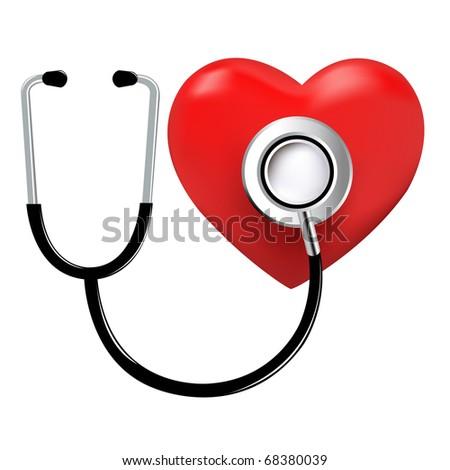 Stethoscope And Heart, Isolated On White Background - stock photo