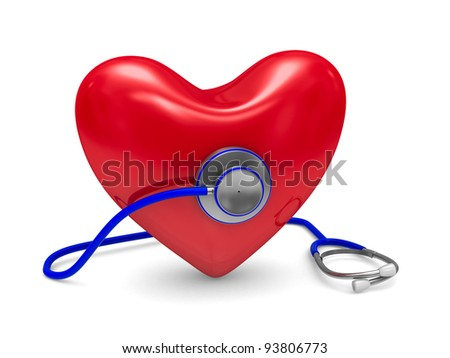 Stethoscope and heart on white background. Isolated 3D image - stock photo