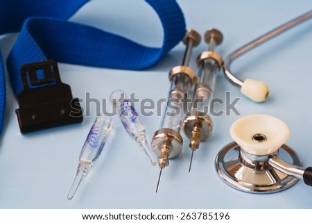 stethoscope and other medical facilities - stock photo