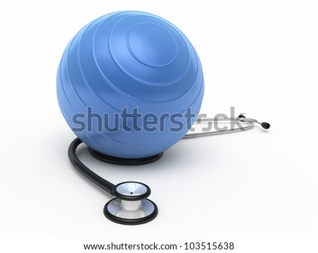 Stethoscope and pilates ball render (isolated on white and clipping path)