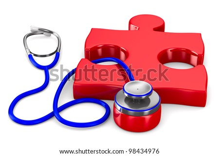 Stethoscope and puzzle on white background. Isolated 3D image - stock photo