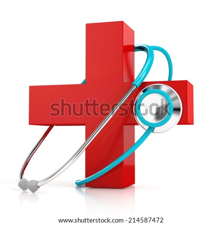 stethoscope and red first aid symbol isolated on white background. 3d illustration. medical concept - stock photo