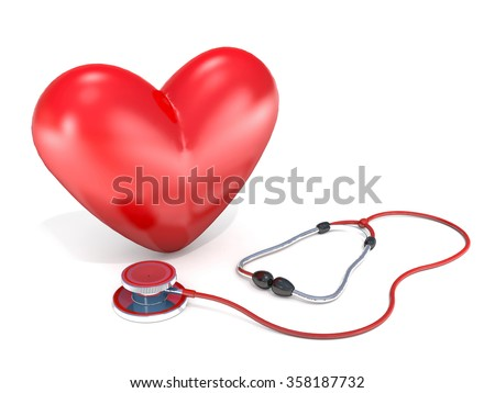 Stethoscope and red heart on a white background. - stock photo