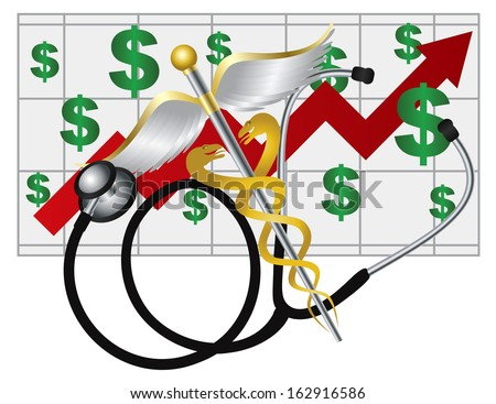 Stethoscope and Rod of Caduceus Medical Symbol with Health Cost Rising Chart on White Background Raster Illustration - stock photo