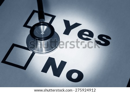 stethoscope and word yes no,   - stock photo