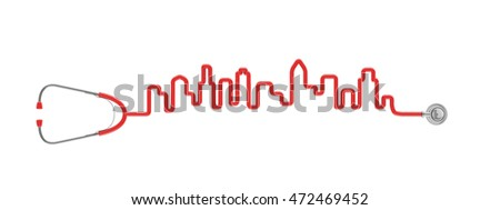 Stethoscope city skyline / 3D illustration of stethoscope tubing forming city skyline