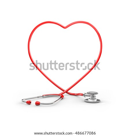 Stethoscope heart frame / 3D illustration of stethoscope tubing forming heart shape